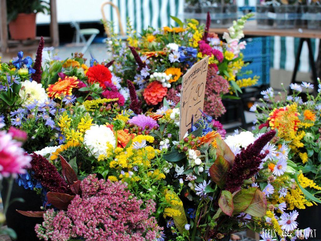 Bunte Blumen auf dem Wochenmarkt Erfurt