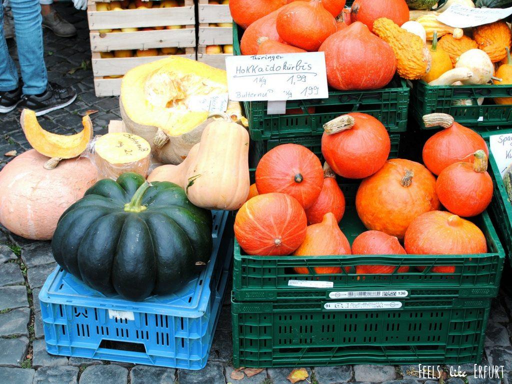 Kürbisse auf dem Erfurter Wochenmarkt